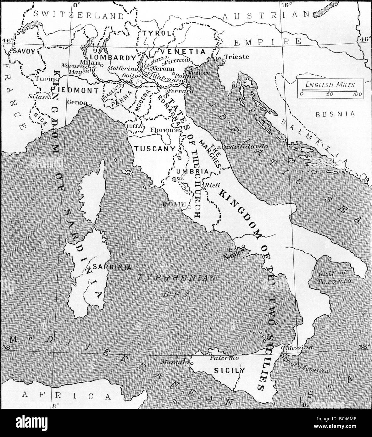 Cartina Dell Italia 1815.Mappa Di Italia Nel 1815 Foto Stock Alamy
