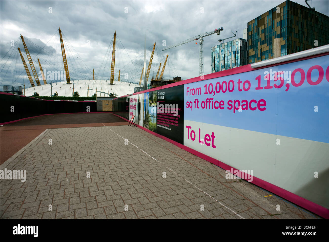 Ufficio di Londra lo spazio disponibile a cupola O2 area di sviluppo COPYRIGHT FOTOGRAFIA DI BRIAN HARRIS 2009 07808 Immagini Stock