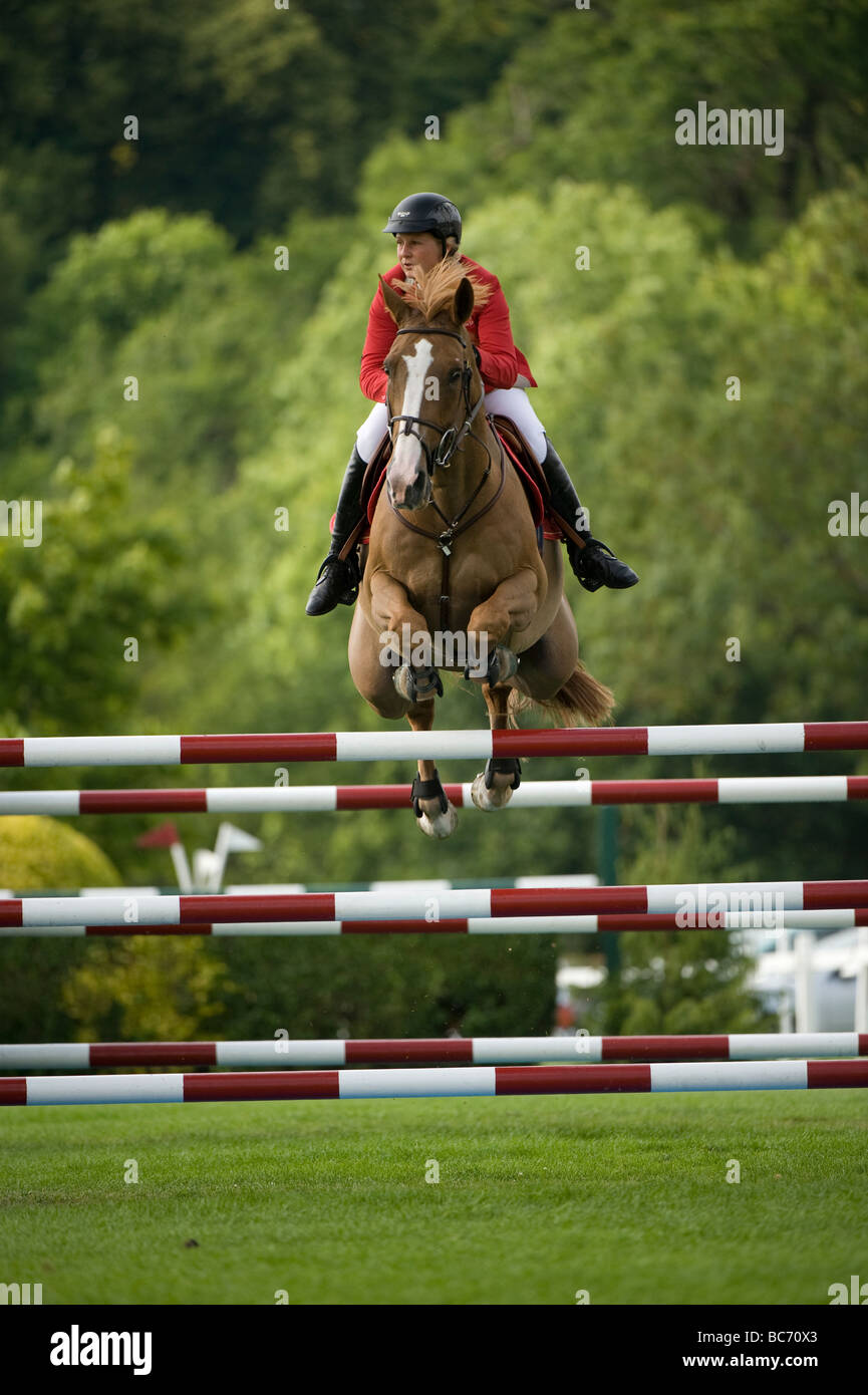 Jo Pay vince il 2009 Hickstead Derby di prova. Immagini Stock
