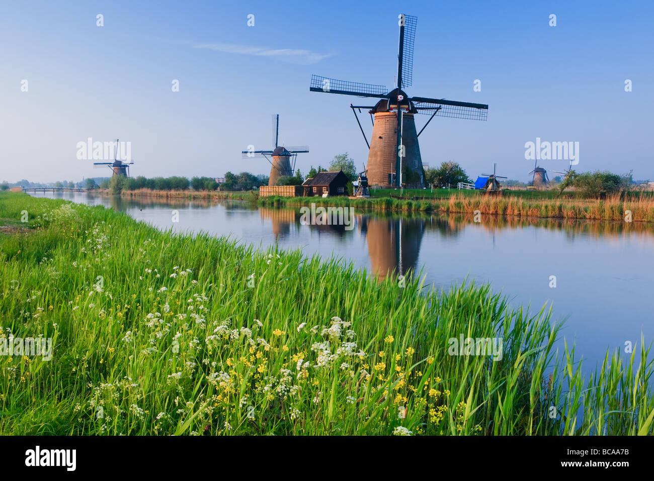 Mulini a vento a Kinderdijk, Paesi Bassi Immagini Stock