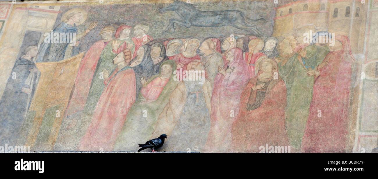 Pigeon seduto davanti il mellow i colori di una loggia storico dipinto murale di Firenze,Toscana ,Italia Immagini Stock