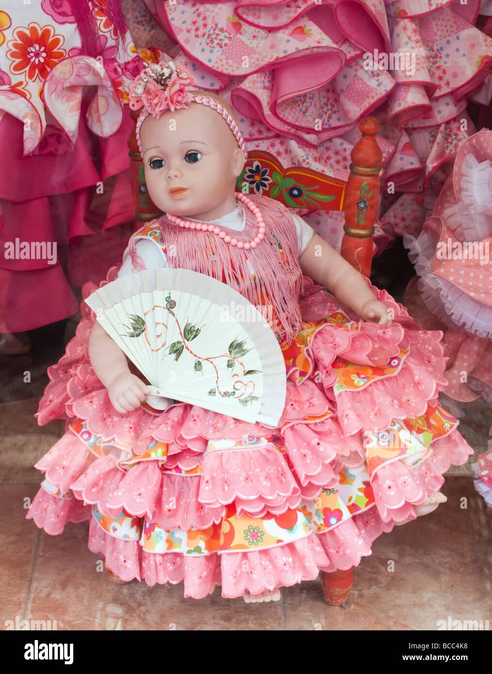 Bambola in abito di flamenco in Vetrina Spagna Immagini Stock