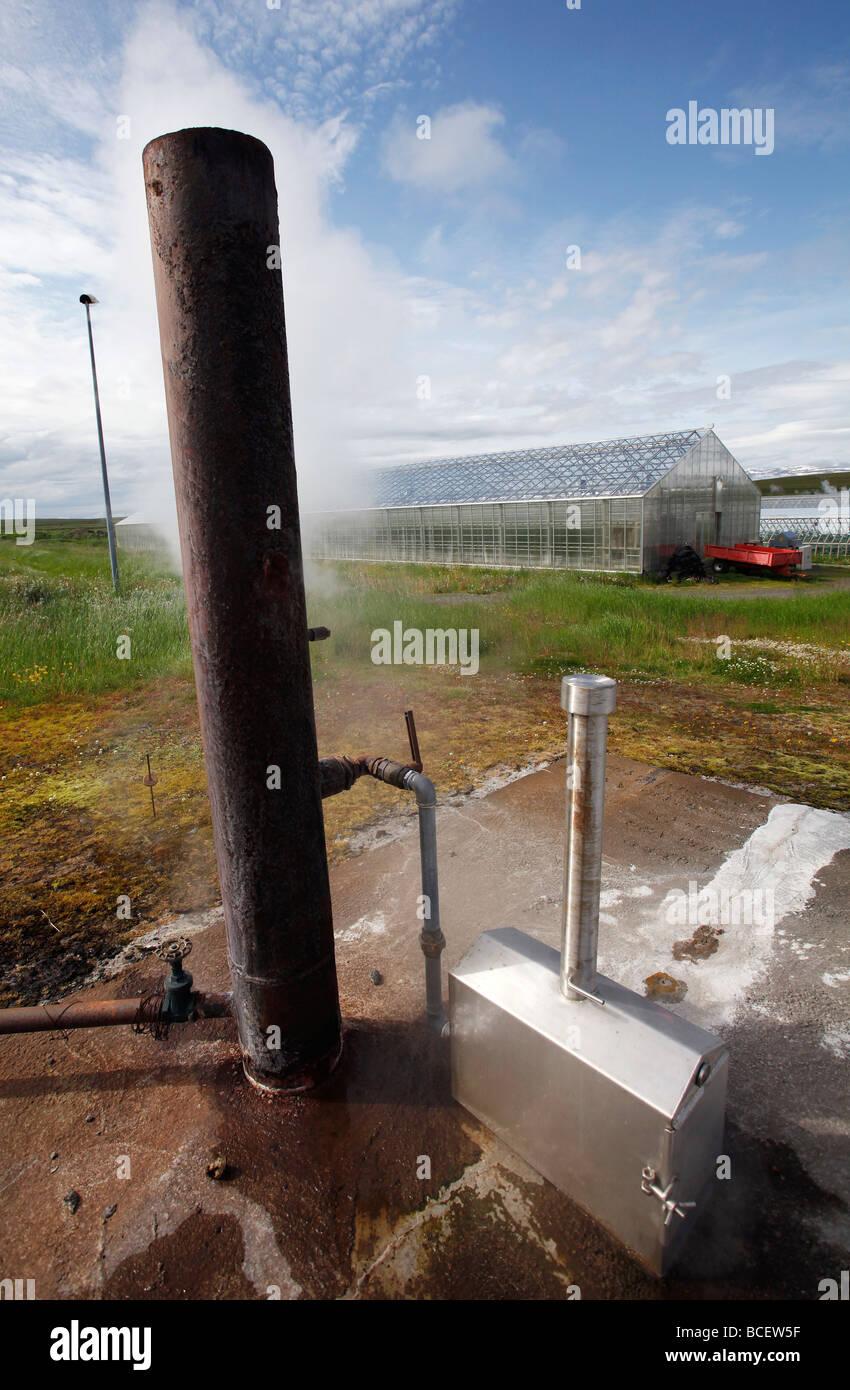 Un foro di trivellazione alimenta calore geotermico per serre, Islanda Immagini Stock