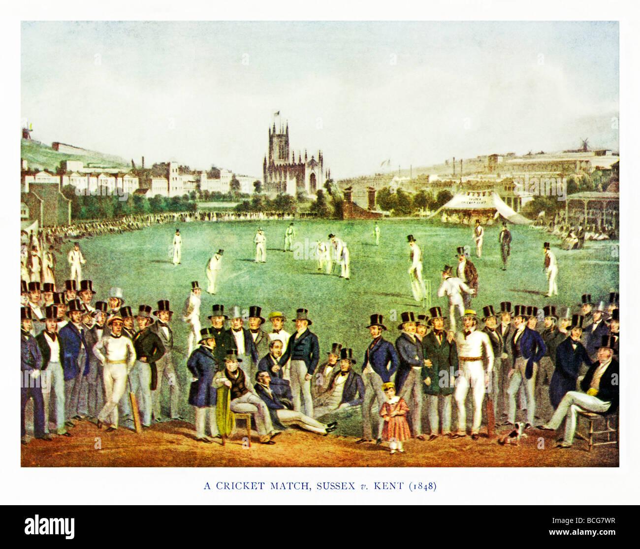 Sussex v Kent 1848 Illustrazione di un inizio di Victorian partita di cricket tra le contee rivale Immagini Stock