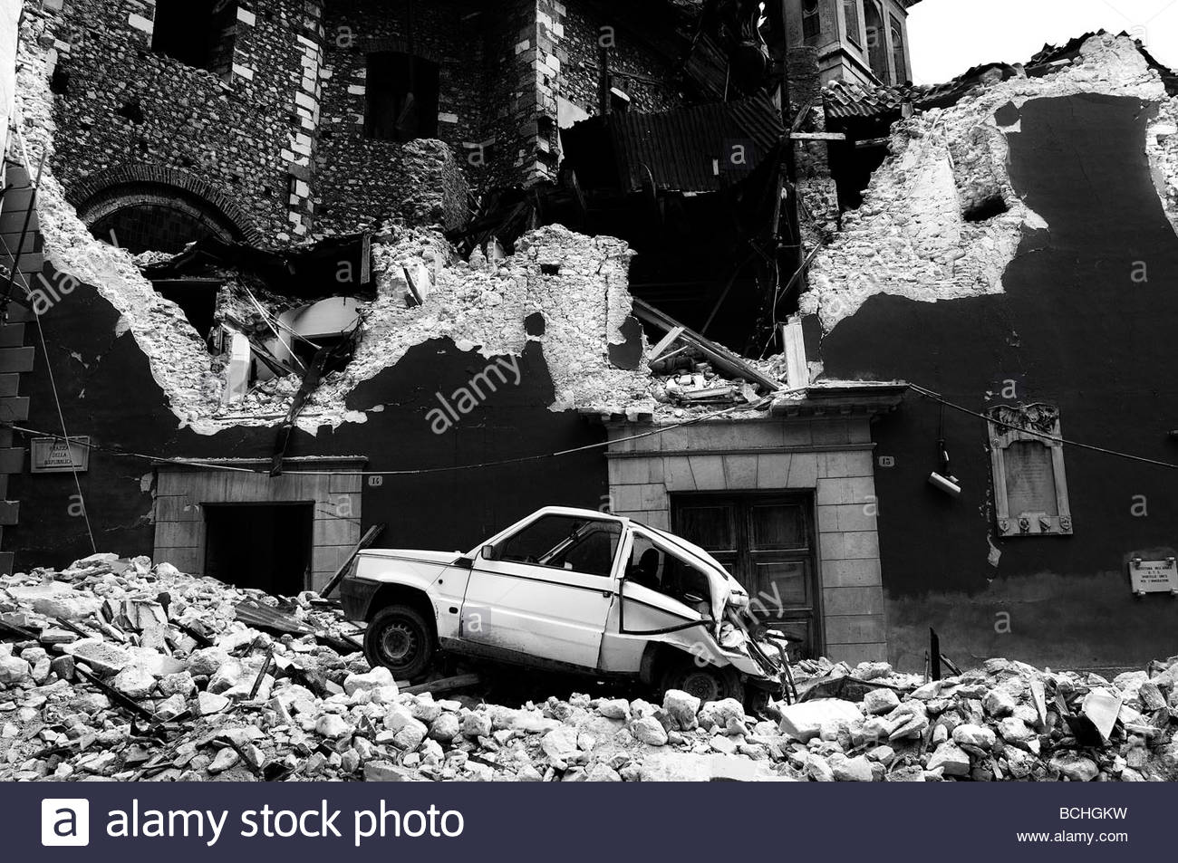 L'aquila terremoto. abruzzo italia Immagini Stock