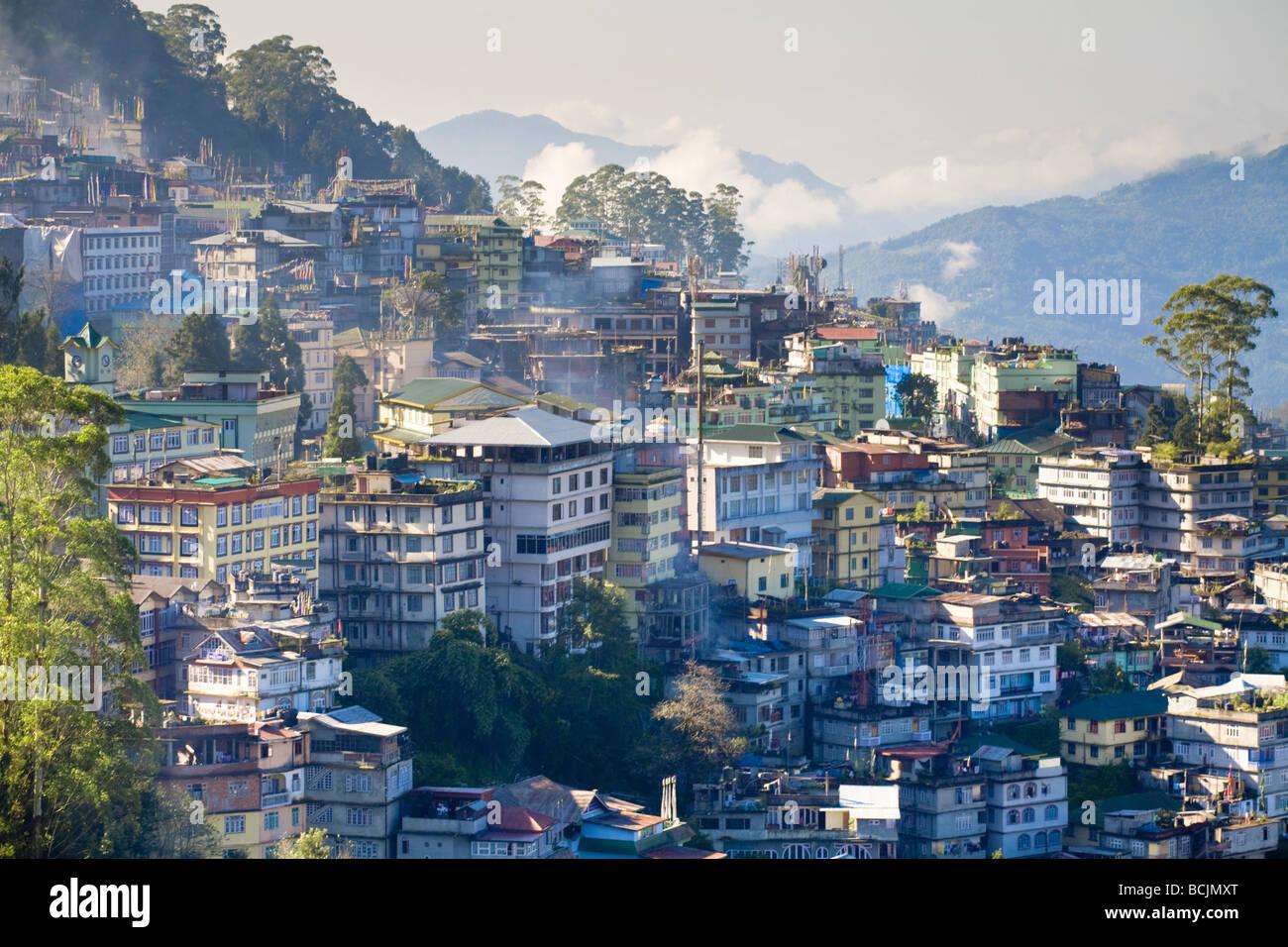 India, Sikkim, Gangtok, la vista della città dal punto di vista Tashi Immagini Stock
