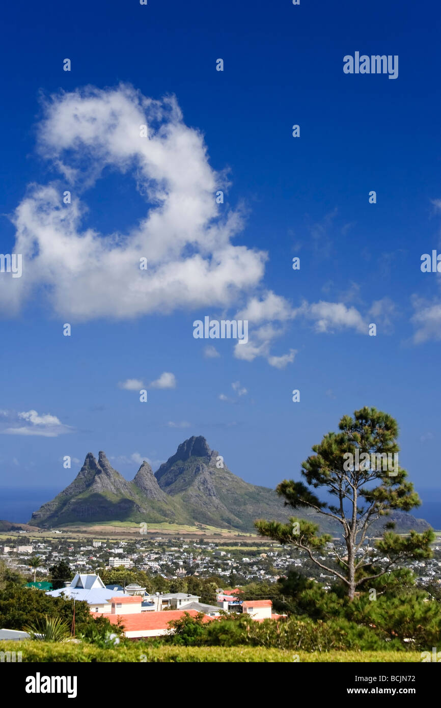 Trois Mamelles e Montagne du Rempart, Mauritius, Oceano Indiano Foto Stock