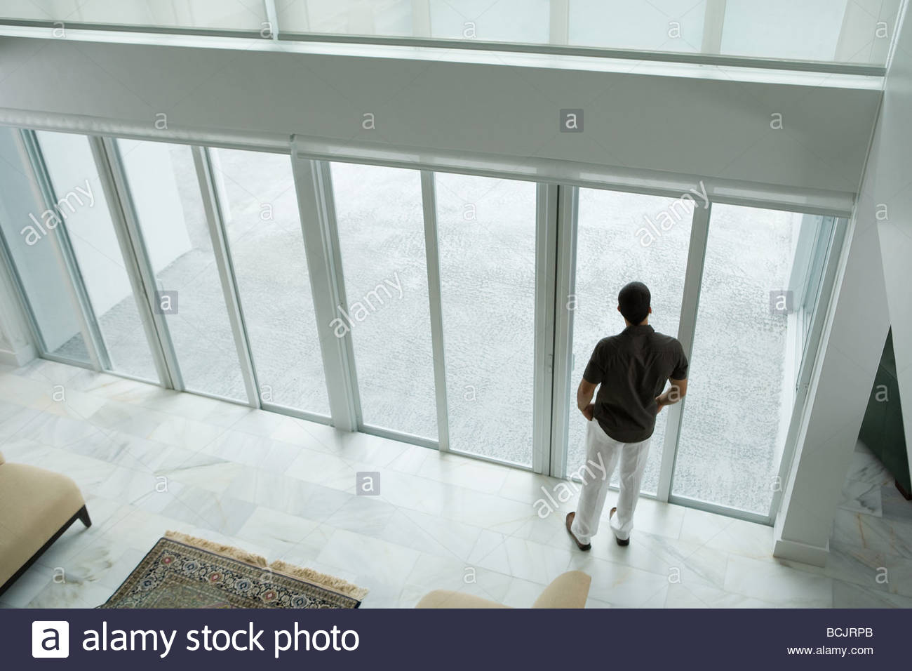 Uomo con le porte del patio Immagini Stock