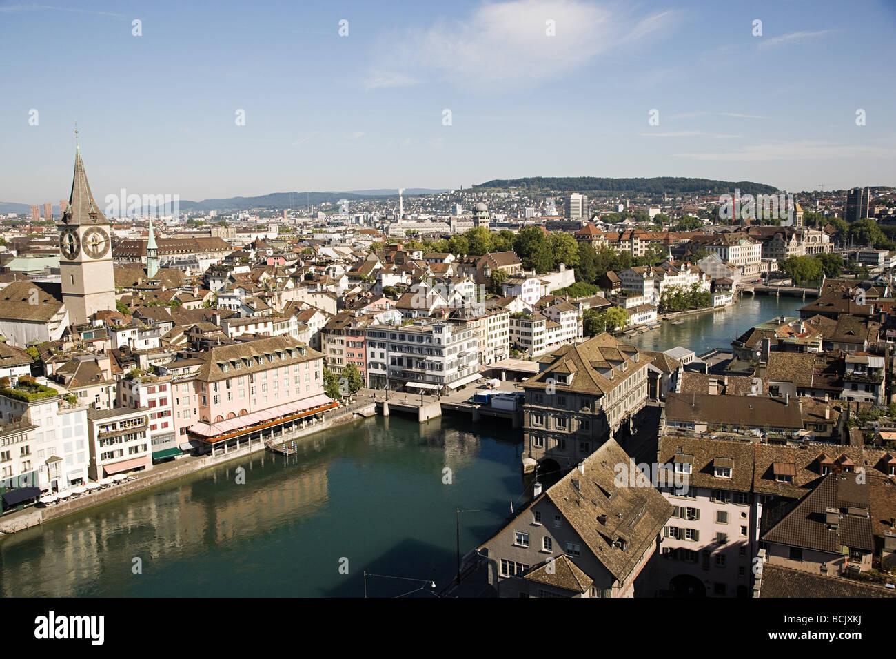 Vista in elevazione di Zurigo Immagini Stock