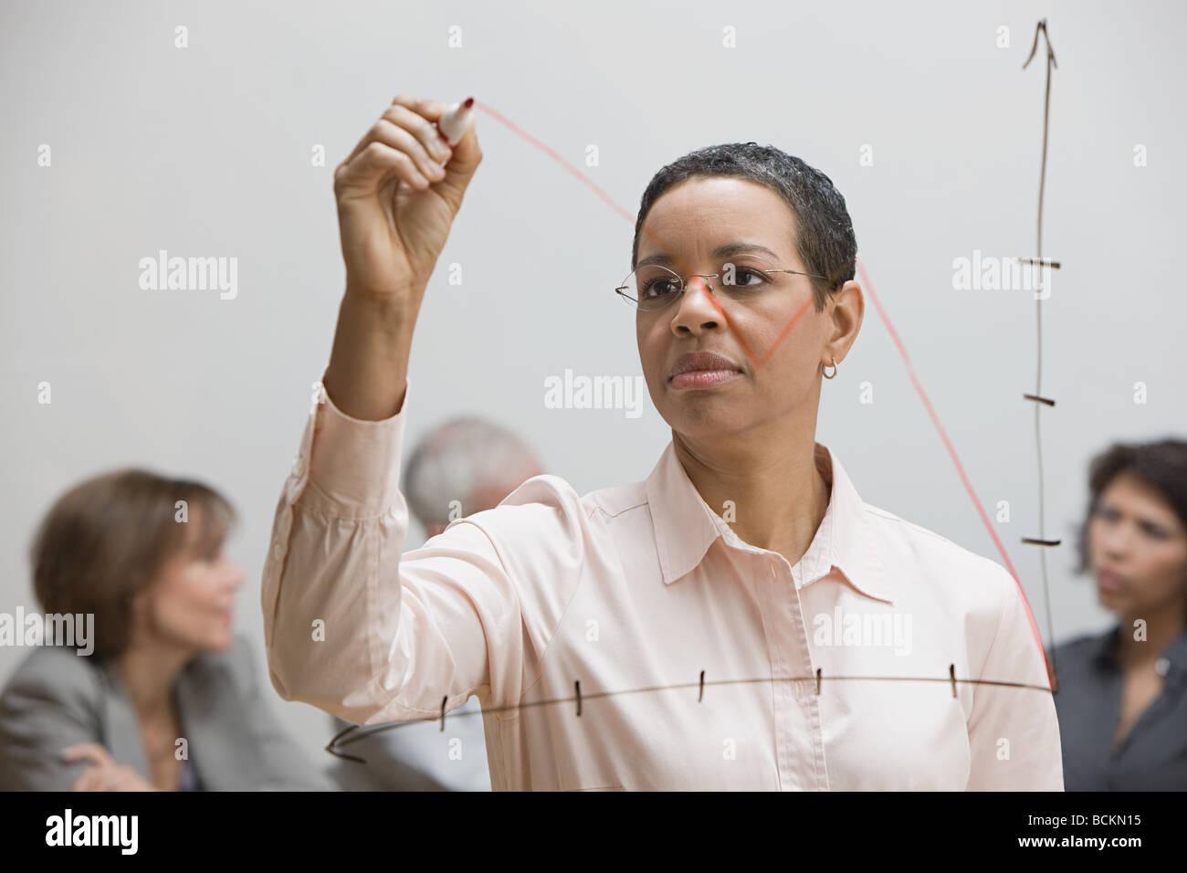 Donna disegno grafico su vetro Immagini Stock