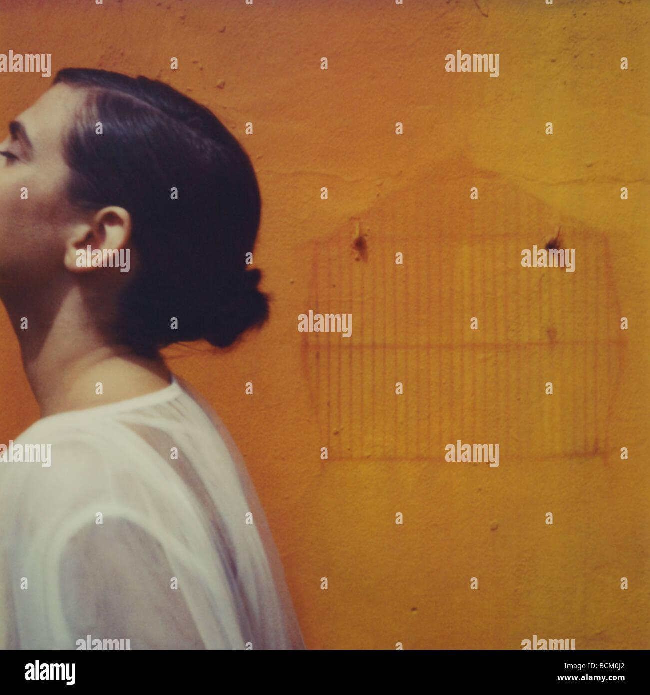 Donna in piedi dal contorno di birdcage sul muro, ritagliato Immagini Stock