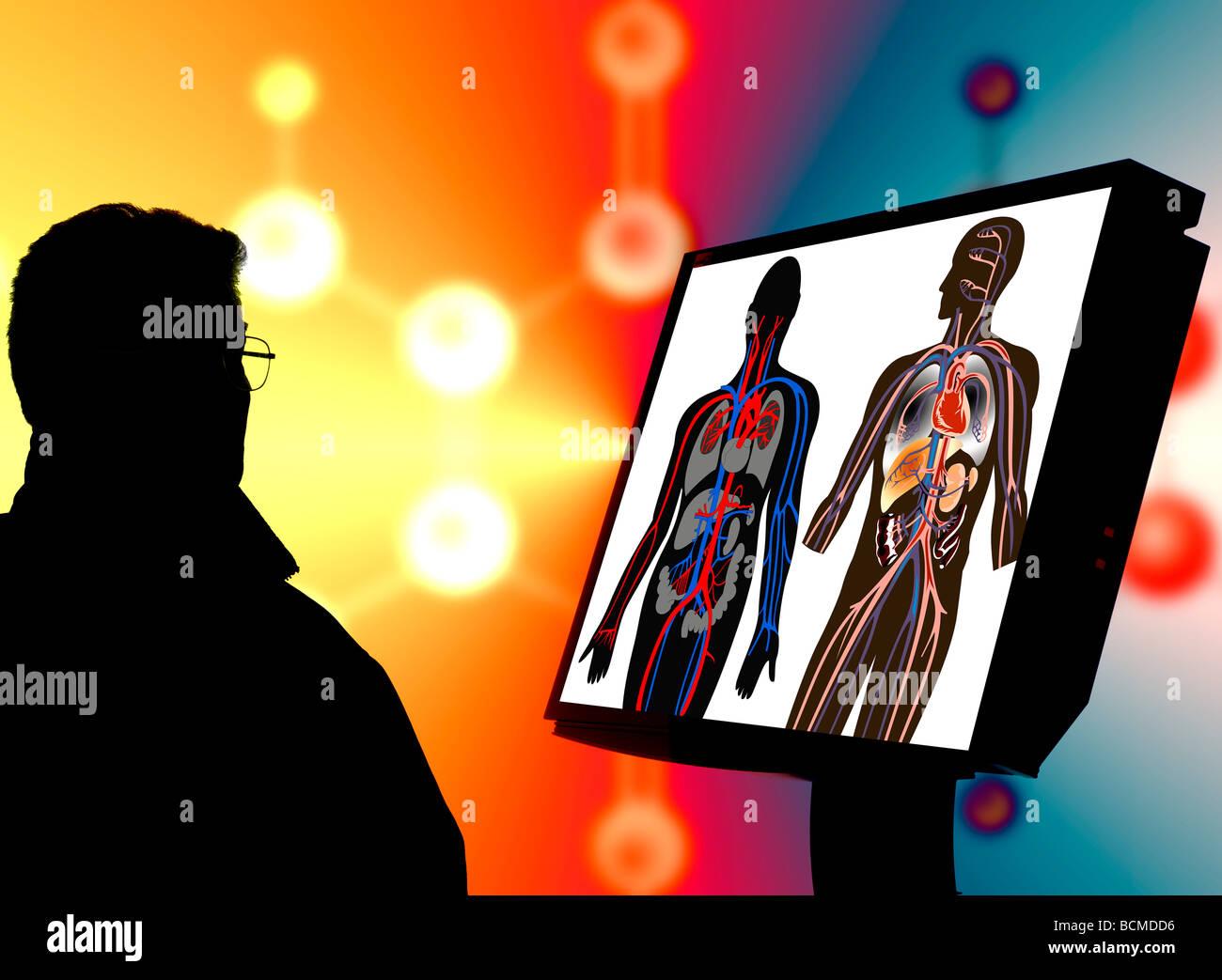 Dottore di ricerca controllo flusso arterioso illustrazioni sul monitor del computer Immagini Stock