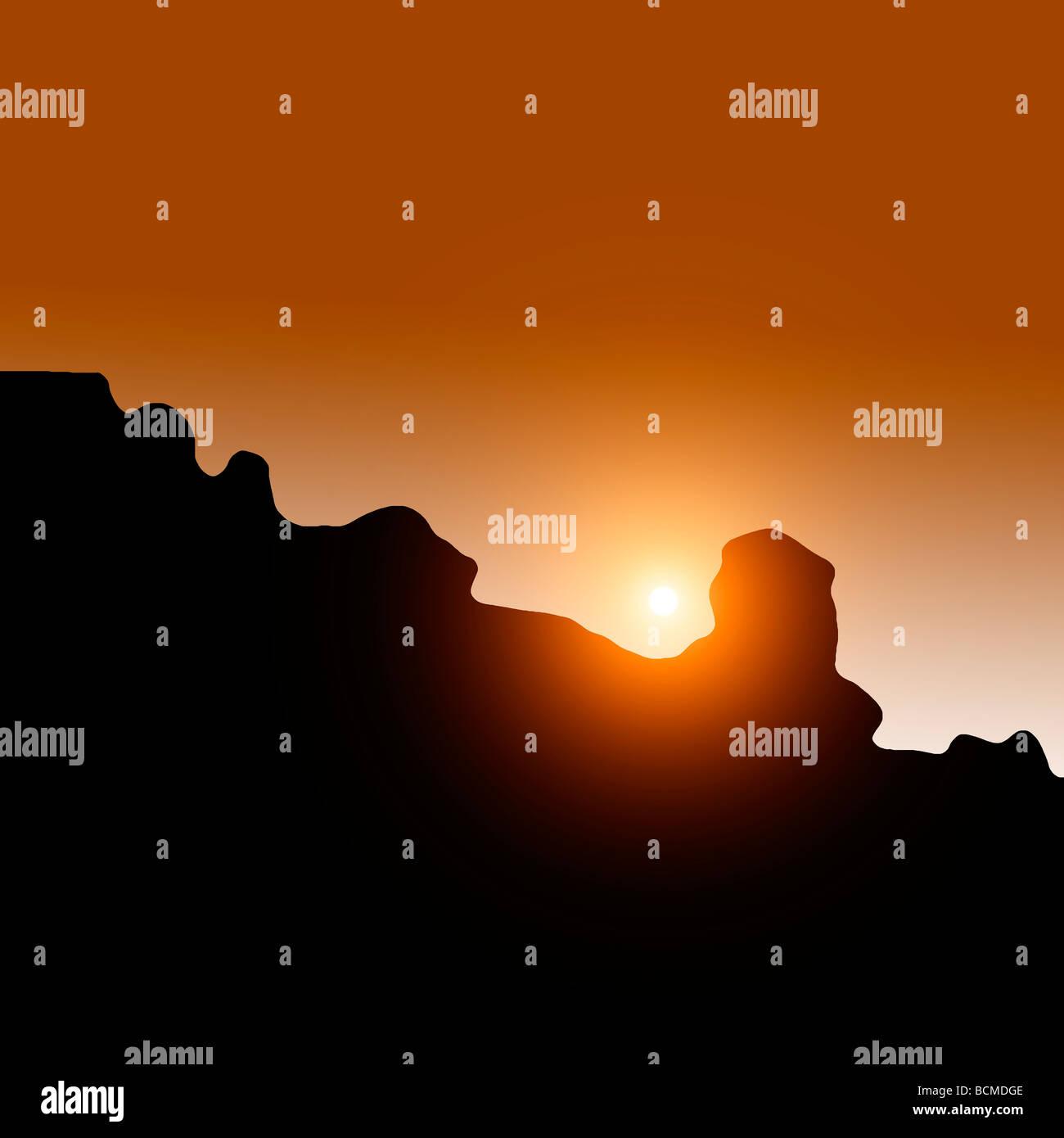 Teleobiettivo con fotografia del tramonto e montagne rocciose Immagini Stock