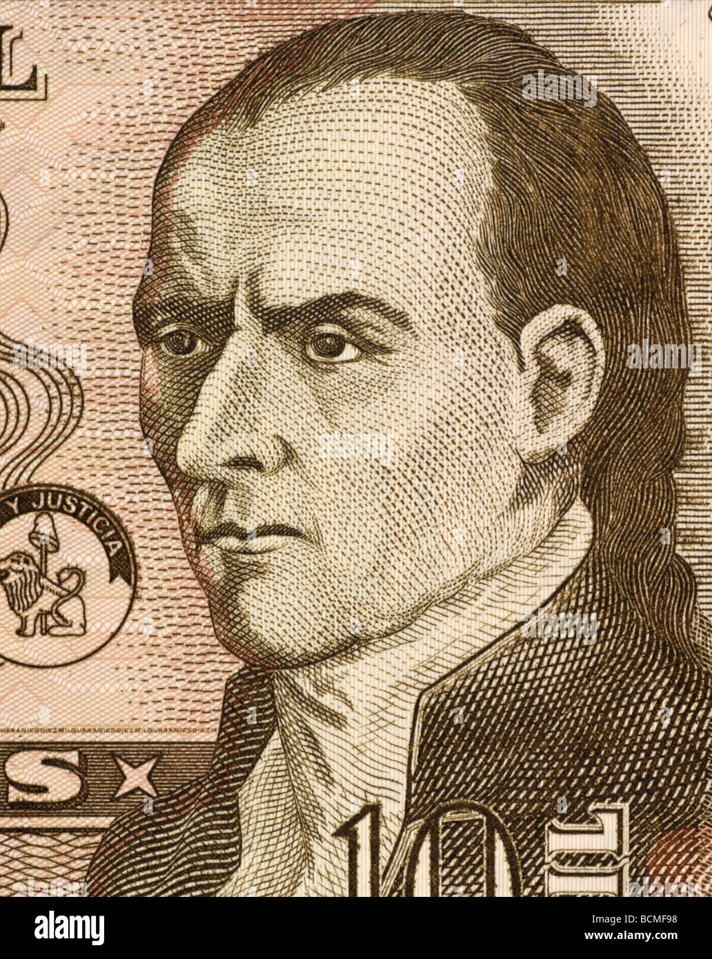 Il dottor José Gaspar Rodriguez de Francia su 10000 Guaranies 2004 banconota dal Paraguay Immagini Stock