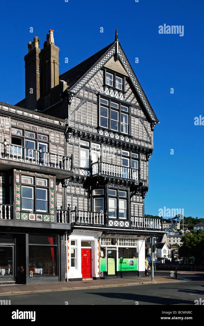 Architettura tudor, Dartmouth, Devon, Regno Unito Immagini Stock