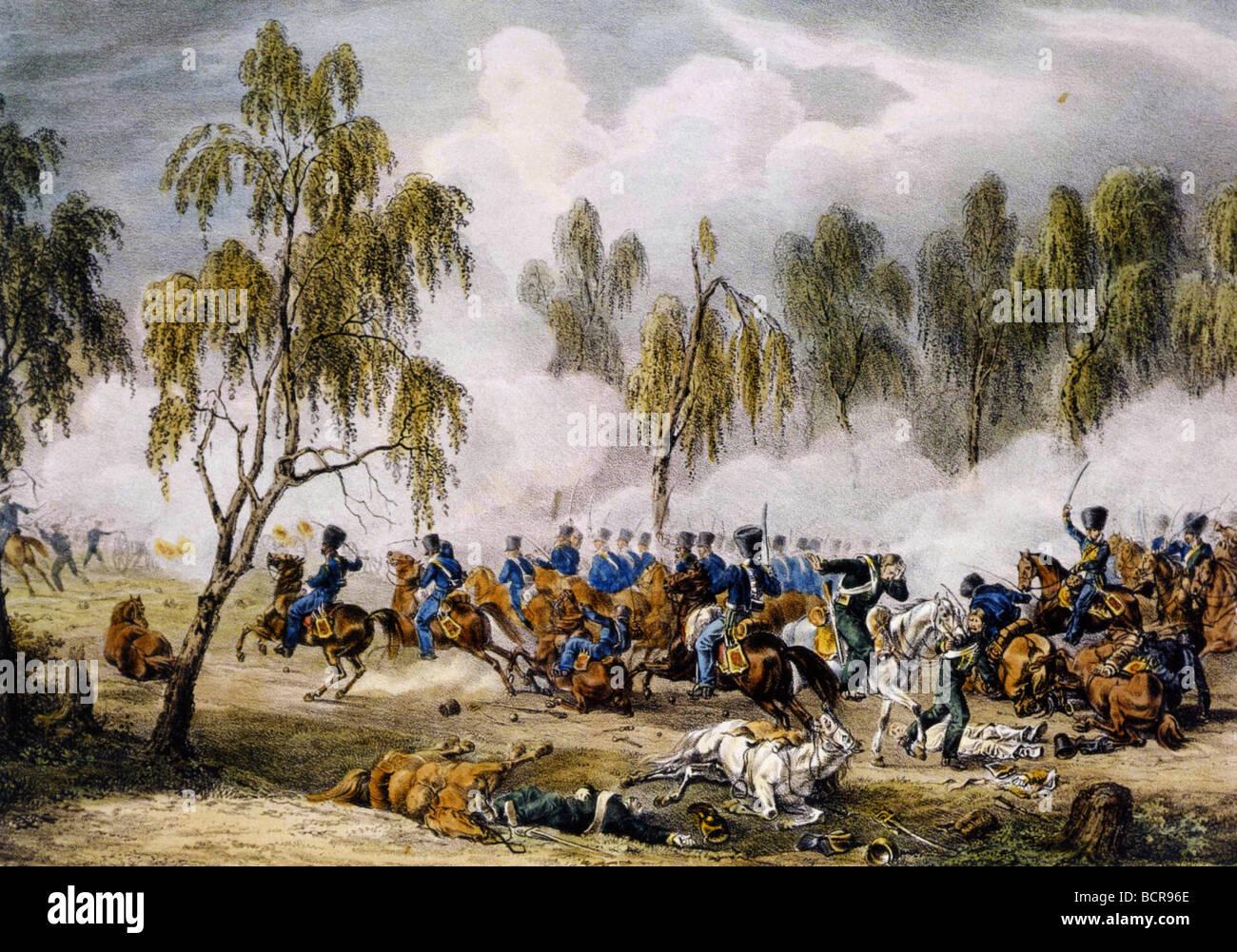 Battaglia di OSTROVNO 25 Luglio 1812 durante il Napoleone invasione della Russia come si vede da Albrecht Adam che Immagini Stock