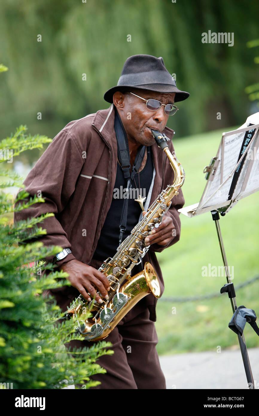 Musicista di strada, Boston Public Garden Immagini Stock