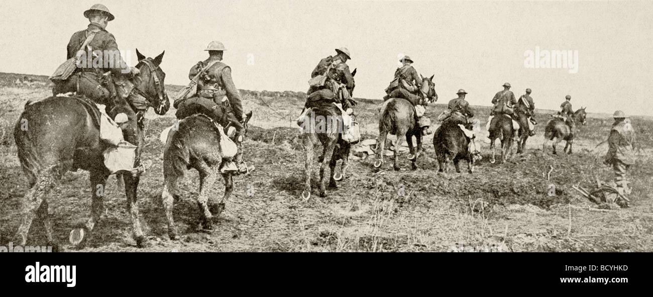 Luce canadese voce di cavalleria in azione sul fronte occidentale. Immagini Stock