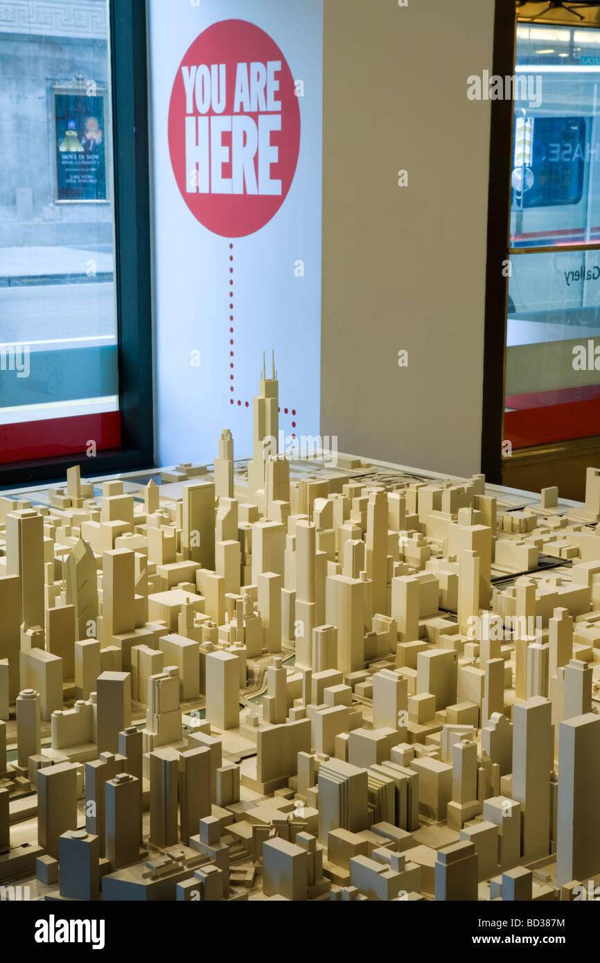 Modello di città a Chicago Architecture Foundation in Chicago Illinois Immagini Stock
