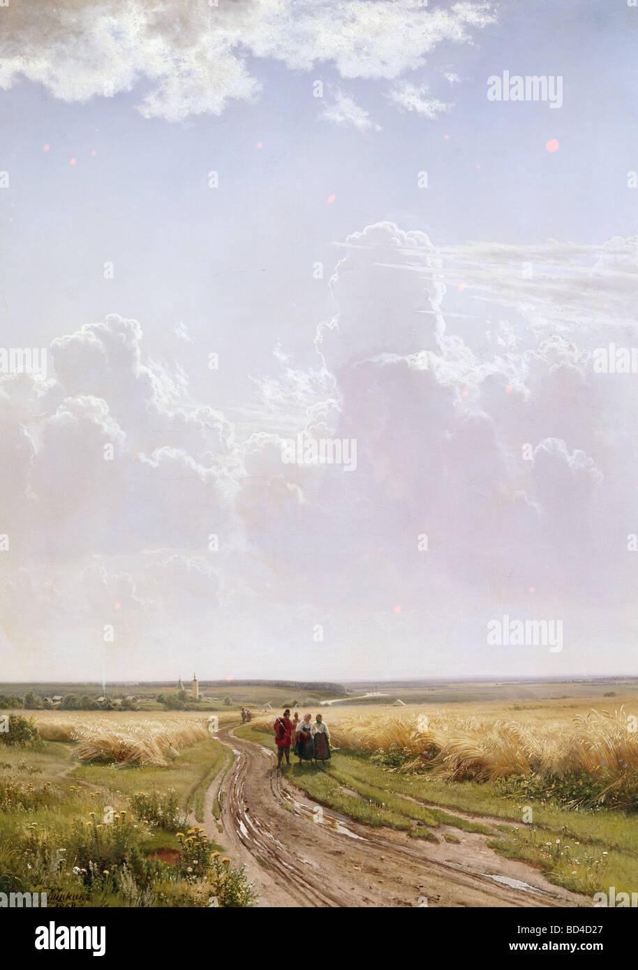 """Belle arti, Shishkin, Ivan Ivanovic, (1832 - 1898), pittura, 'Midday, campagna nei pressi di Mosca"""", 1869, Immagini Stock"""