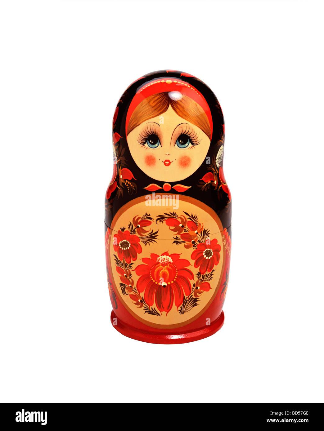Bambola russa su sfondo bianco Immagini Stock