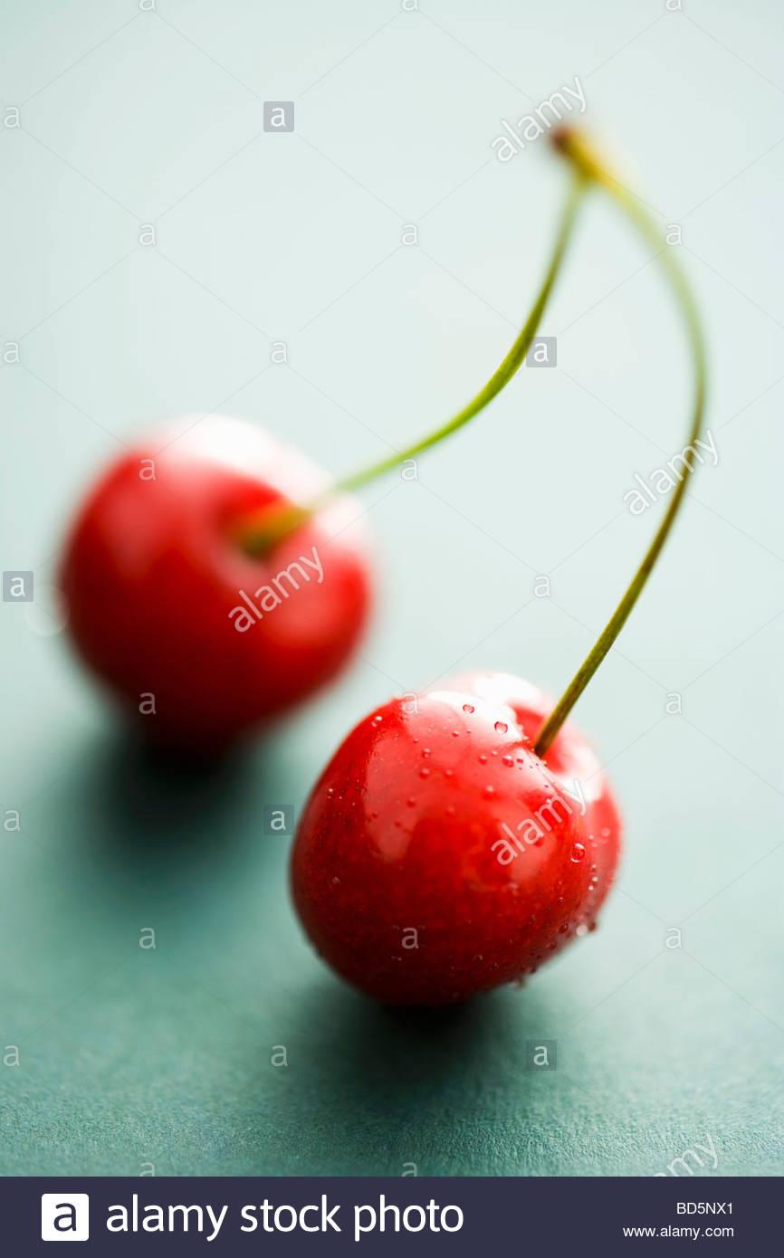 Una coppia di ciliegie Foto Stock