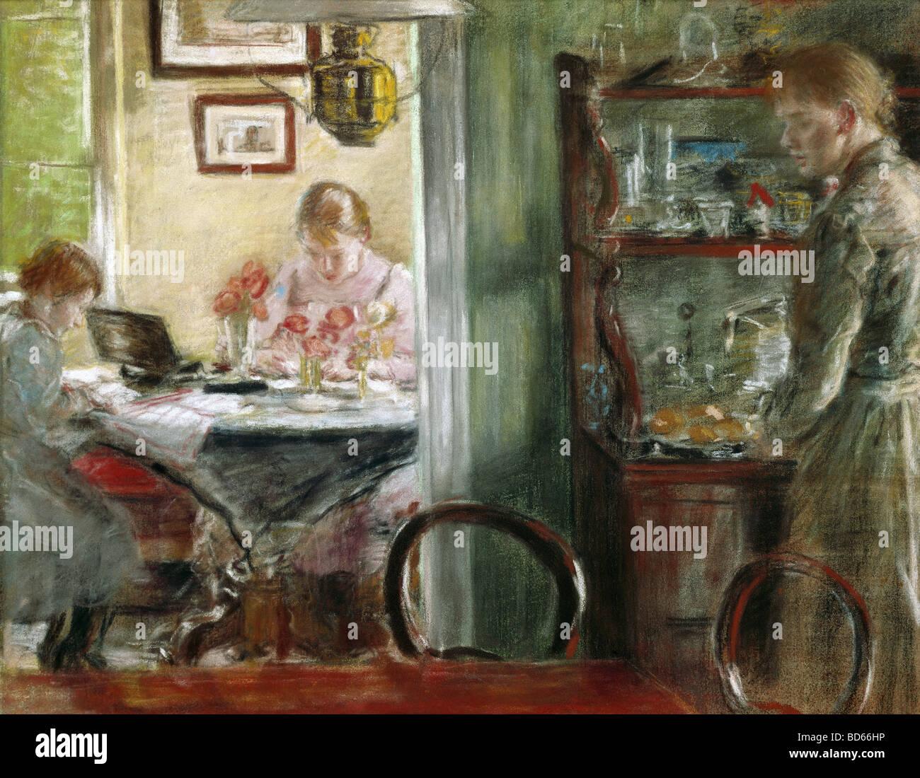"""Belle arti, Uhde, Fritz von (1848 - 1911), pittura, 'Le figlie (interno)"""", il Museum Folkwang di Essen, Germania, Foto Stock"""