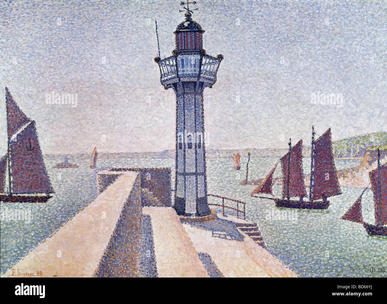 "Belle arti, Signac Paul, (1863 - 1935), pittura, 'Portrieux, Le Phare"", 1888, Rijksmuseum Kröller Immagini Stock"