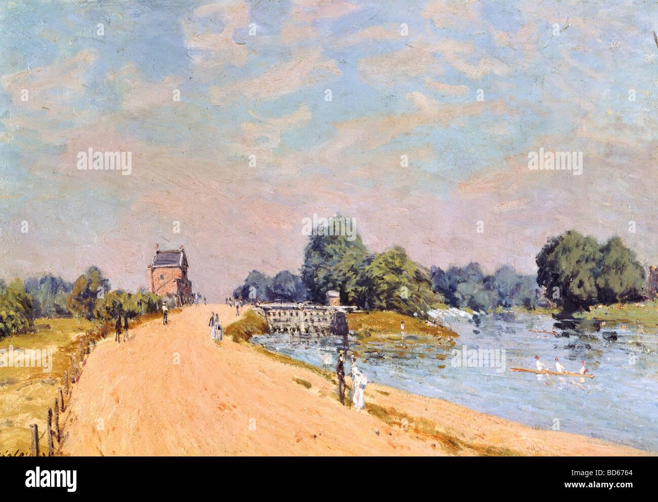 """Belle arti, Sisley, Alfred, (1839 - 1899), pittura, 'la strada a Hampton"""", 1874, olio su tela 38,8 x 55,4 Immagini Stock"""