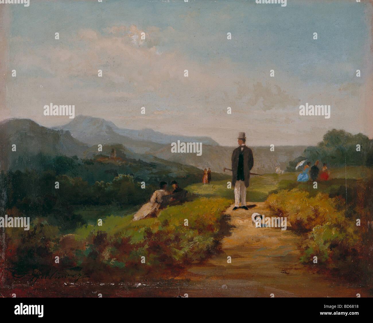 Belle arti, Spitzweg, Carl (1808 - 1885), pittura, 'Der Gutsherr' (Il Laird), la Kunsthalle di Mannheim, Immagini Stock