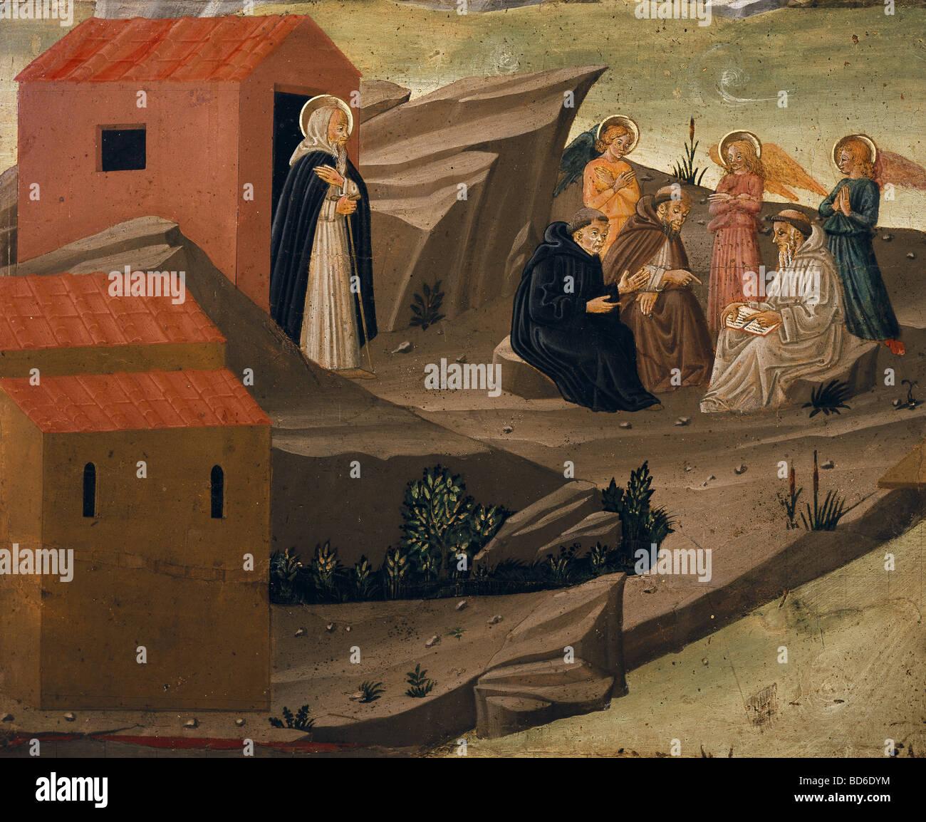 Belle arti, Medioevo, Italia, pittura, 'Scenes da la vita degli eremiti di Thebais', frammento, caseina Immagini Stock