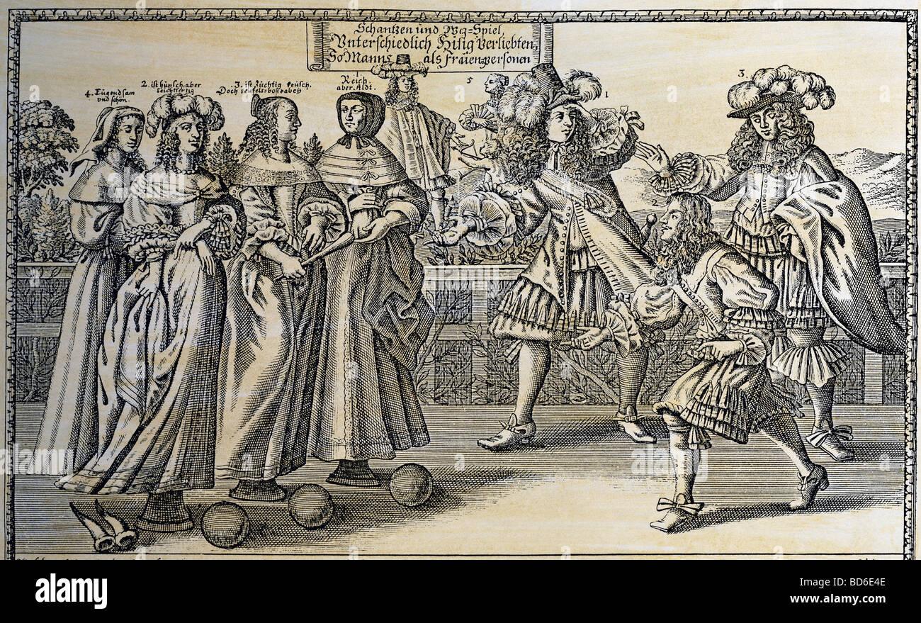 Donne, persone e XVI - XVIII secolo, caricatura, il matrimonio come gioco di bowling, incisione su rame, da Abramo Immagini Stock