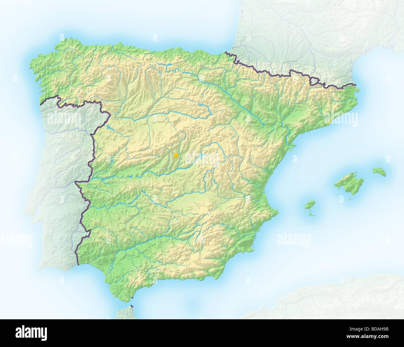 Cartina Rilievi Spagna.Spagna Rilievo Ombreggiato Mappa Foto Stock Alamy