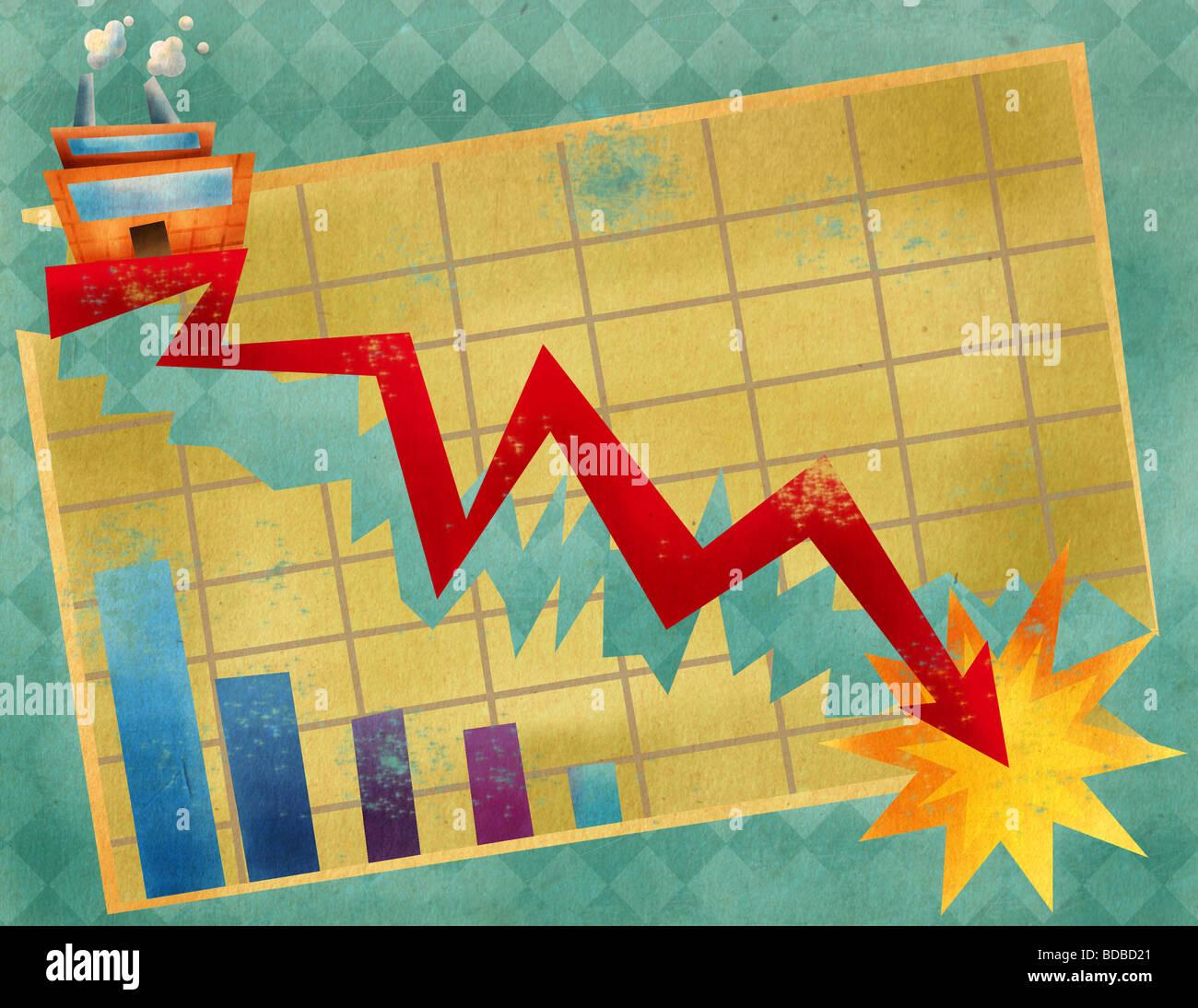 Close-up di un grafico a linee in movimento verso il basso Immagini Stock