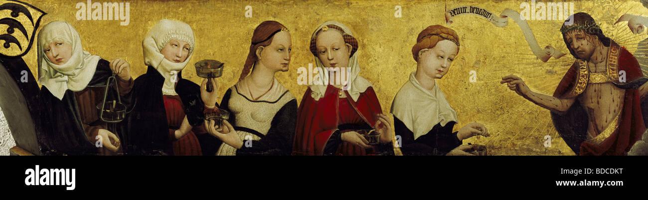 """Belle arti, Moser, Lucas, (circa 1390 - dopo il 1434), la pittura """"Cristo e le cinque vergini sagge,', Immagini Stock"""