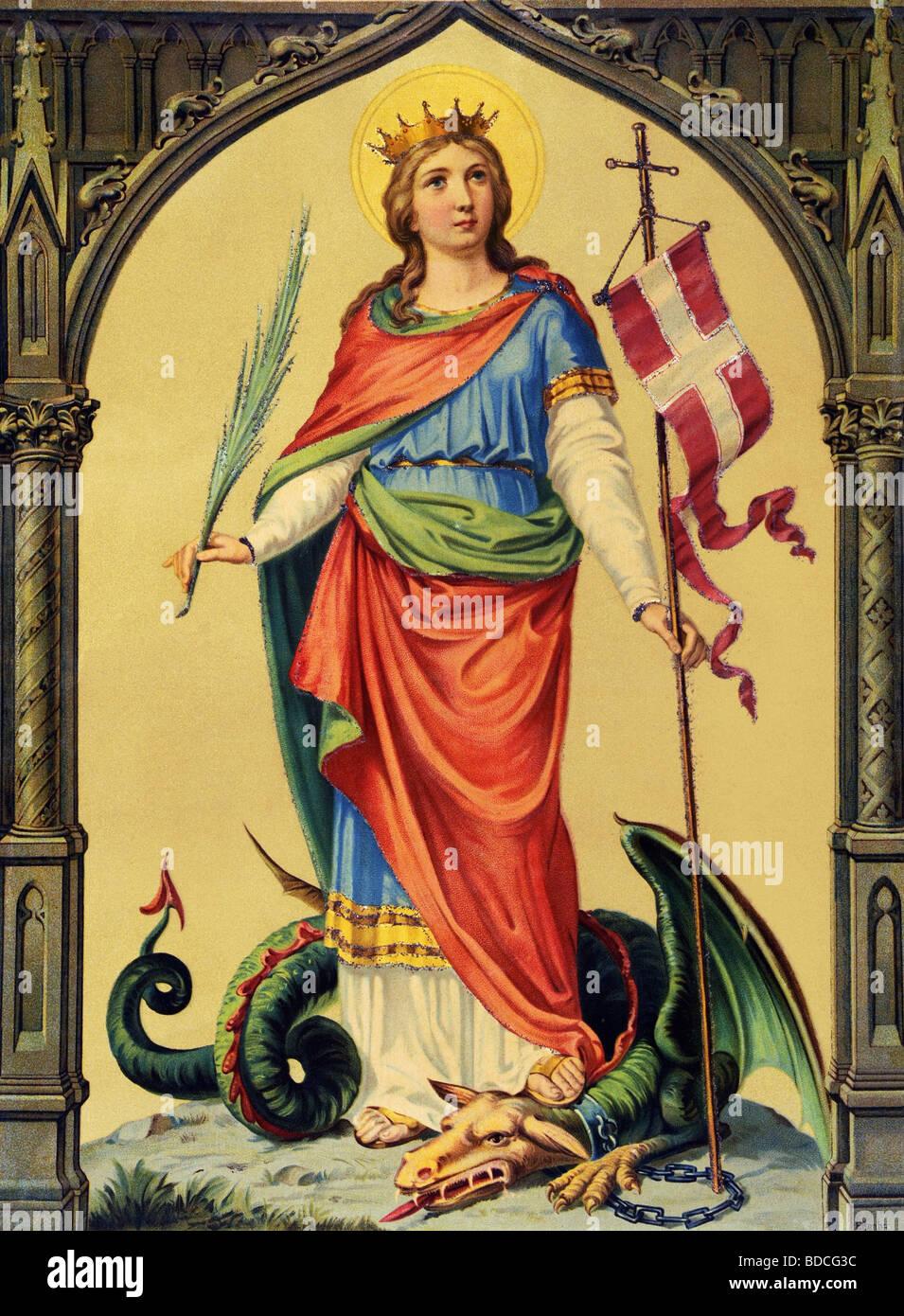 Margherita di Antiochia, san, circa 300 AD, martire e vergine, a lunghezza piena, cavalcando un drago, Germania, Immagini Stock