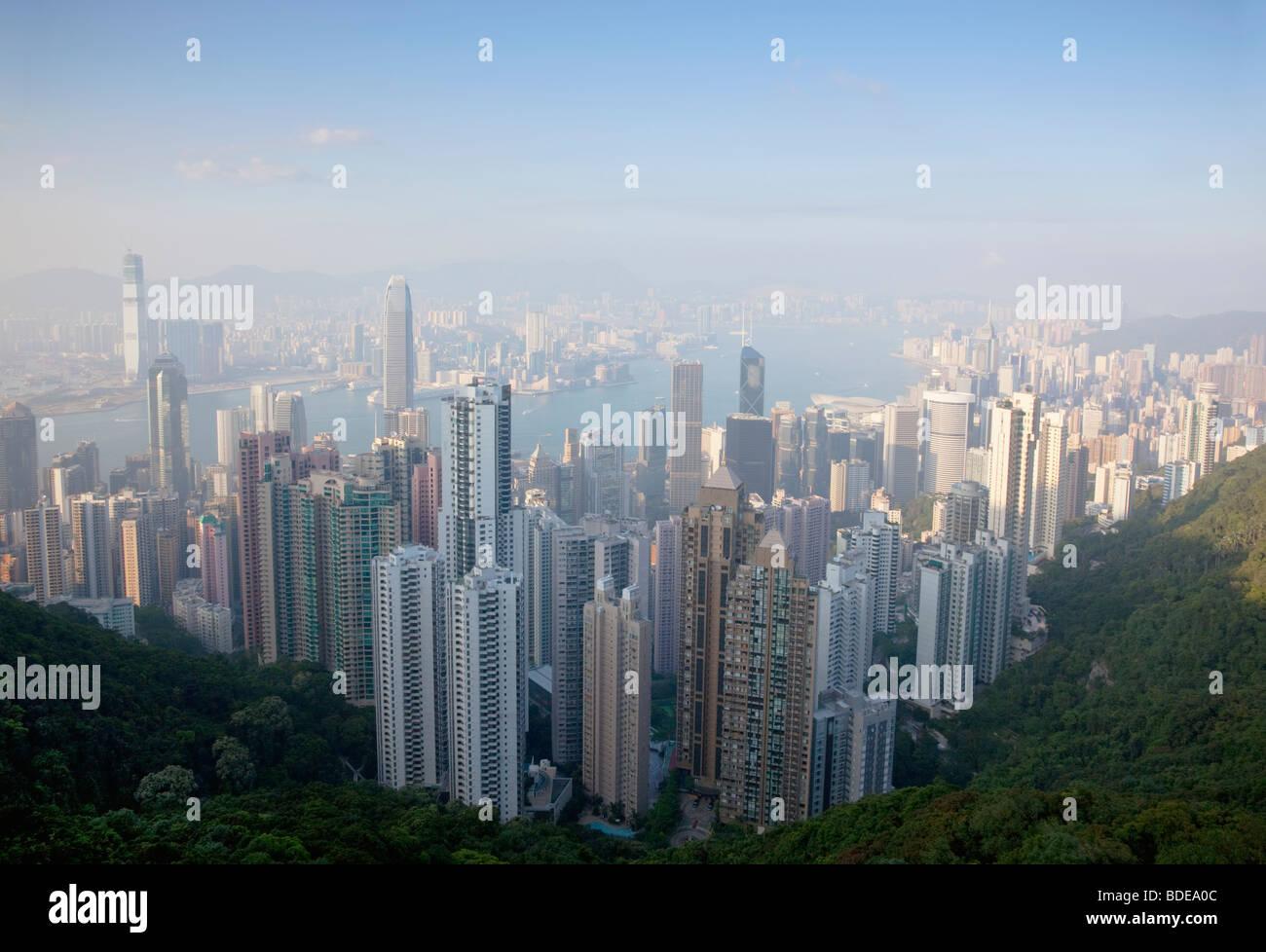 La vista dal picco, Shan Teng, Hong Kong, Cina. Immagini Stock