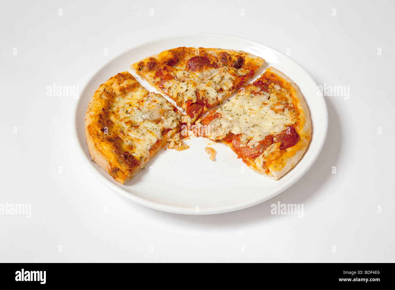 Tre fette di pizza Immagini Stock