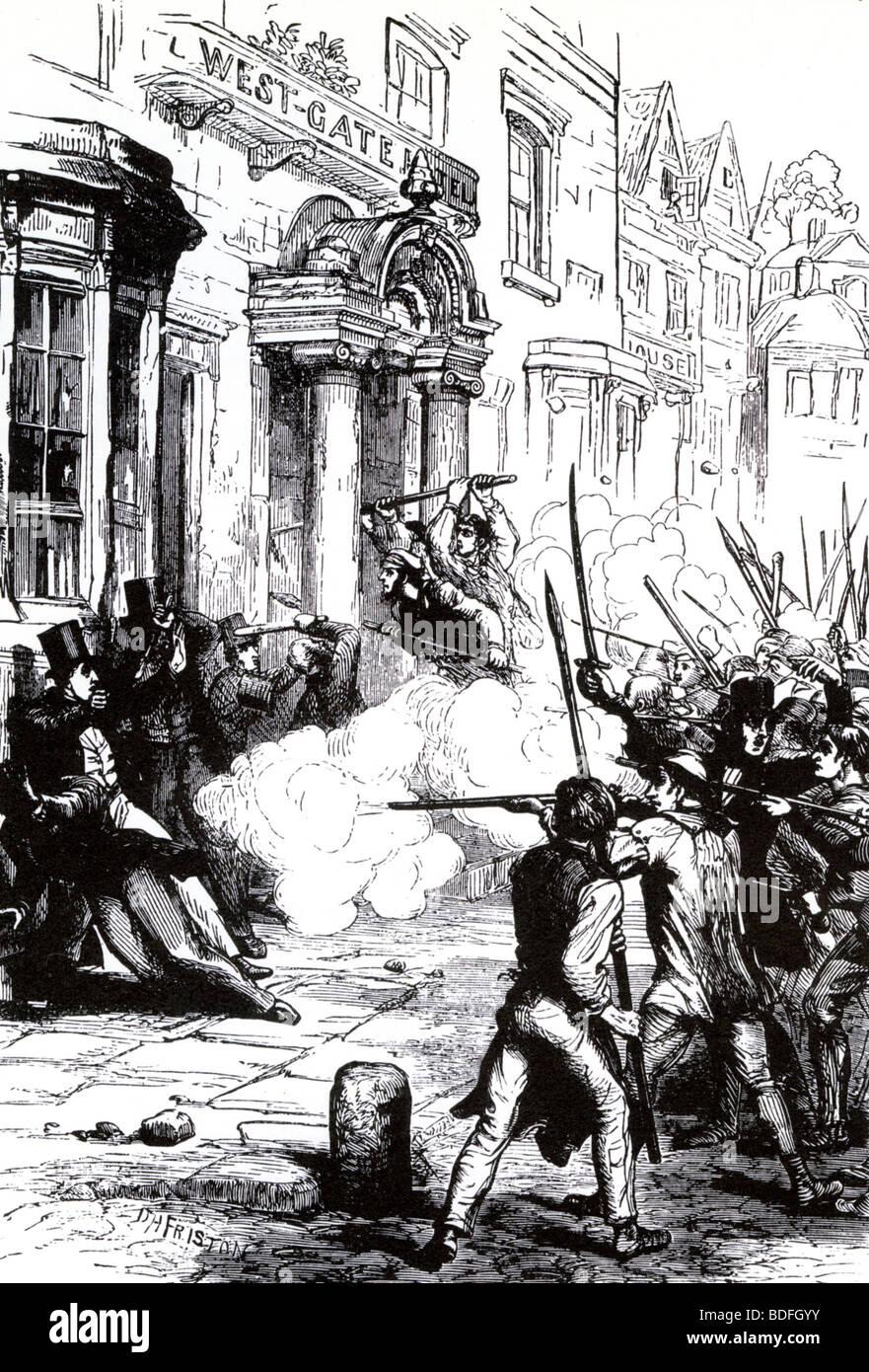 CHARTISTS - insurrezione armata di Newport, Galles, novembre 1839, tentare di liberare il loro leader imprigionato Immagini Stock