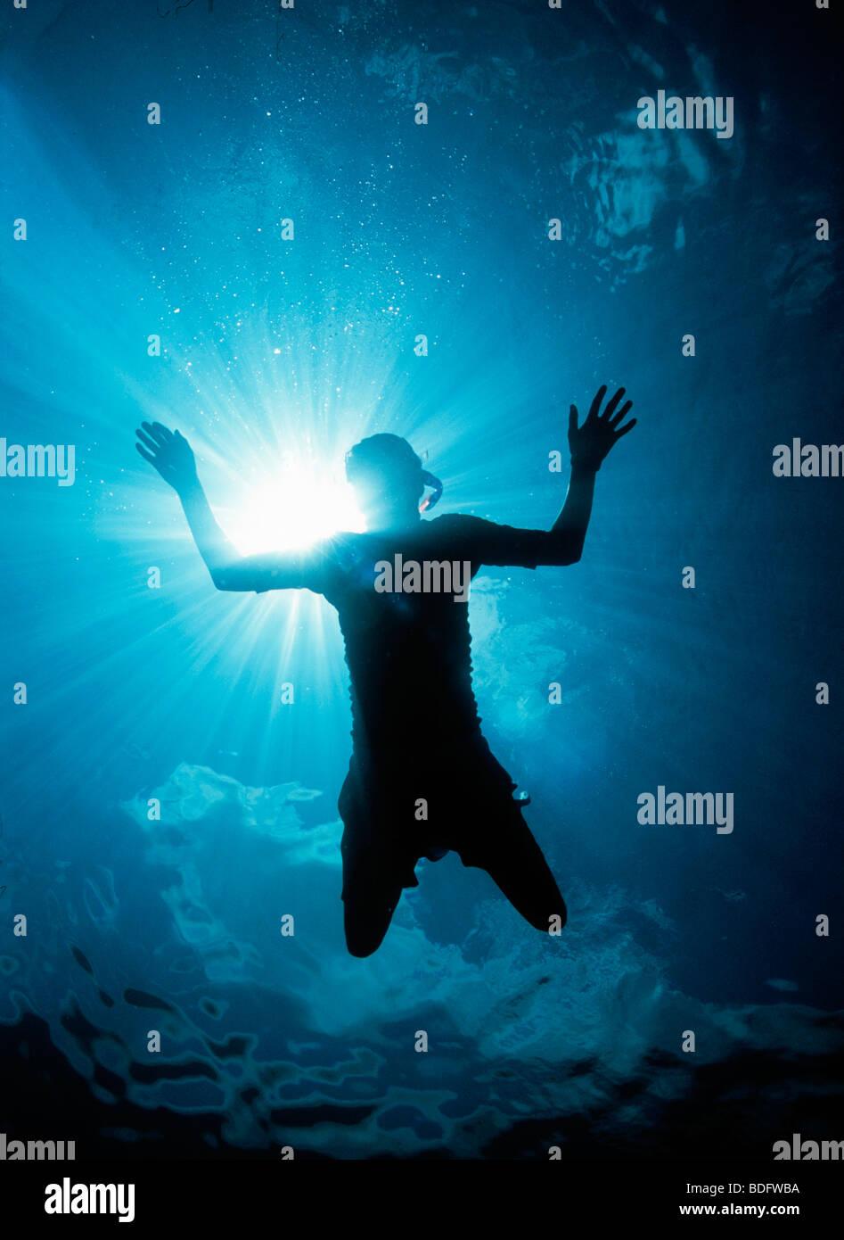 Riprese subacquee di snorkeler Immagini Stock
