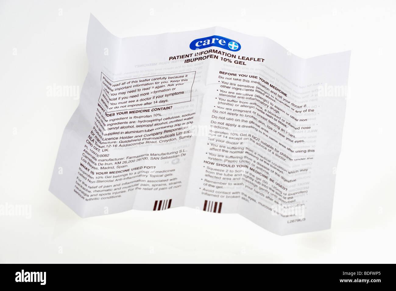 'Paziente istruzioni' opuscolo sull'utilizzo di Ibuprofen 10% gel Immagini Stock