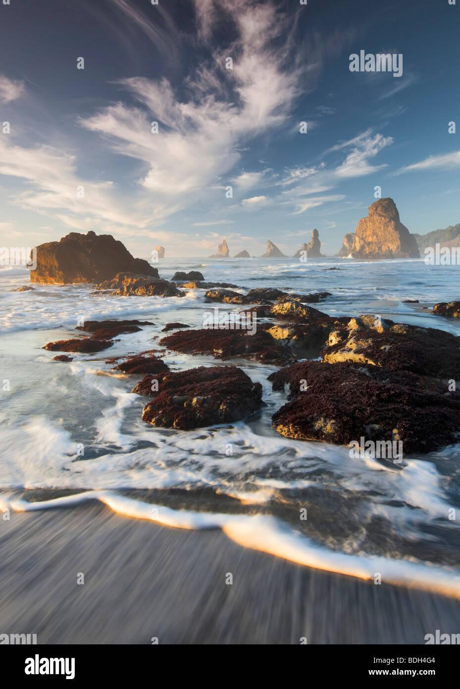 Costa del Pacifico con interessanti nuvole vicino al tramonto. Samuel H. Boardman membro Scenic corridoio. Oregon Immagini Stock