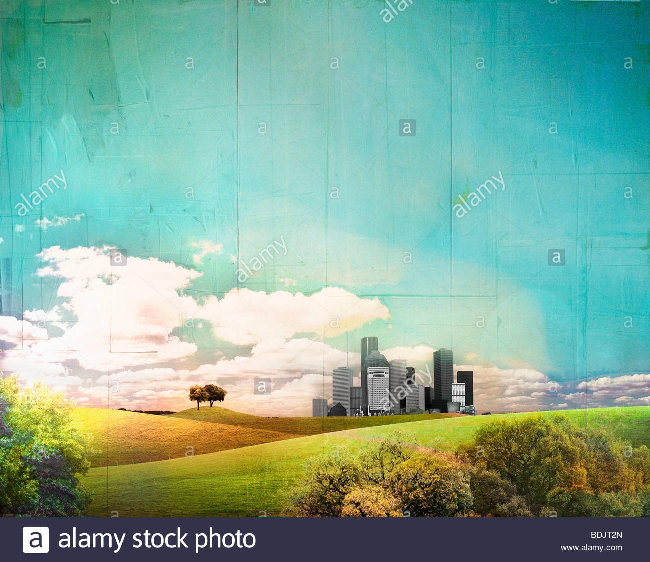 Paesaggio urbano lontano dietro il paesaggio di laminazione Immagini Stock