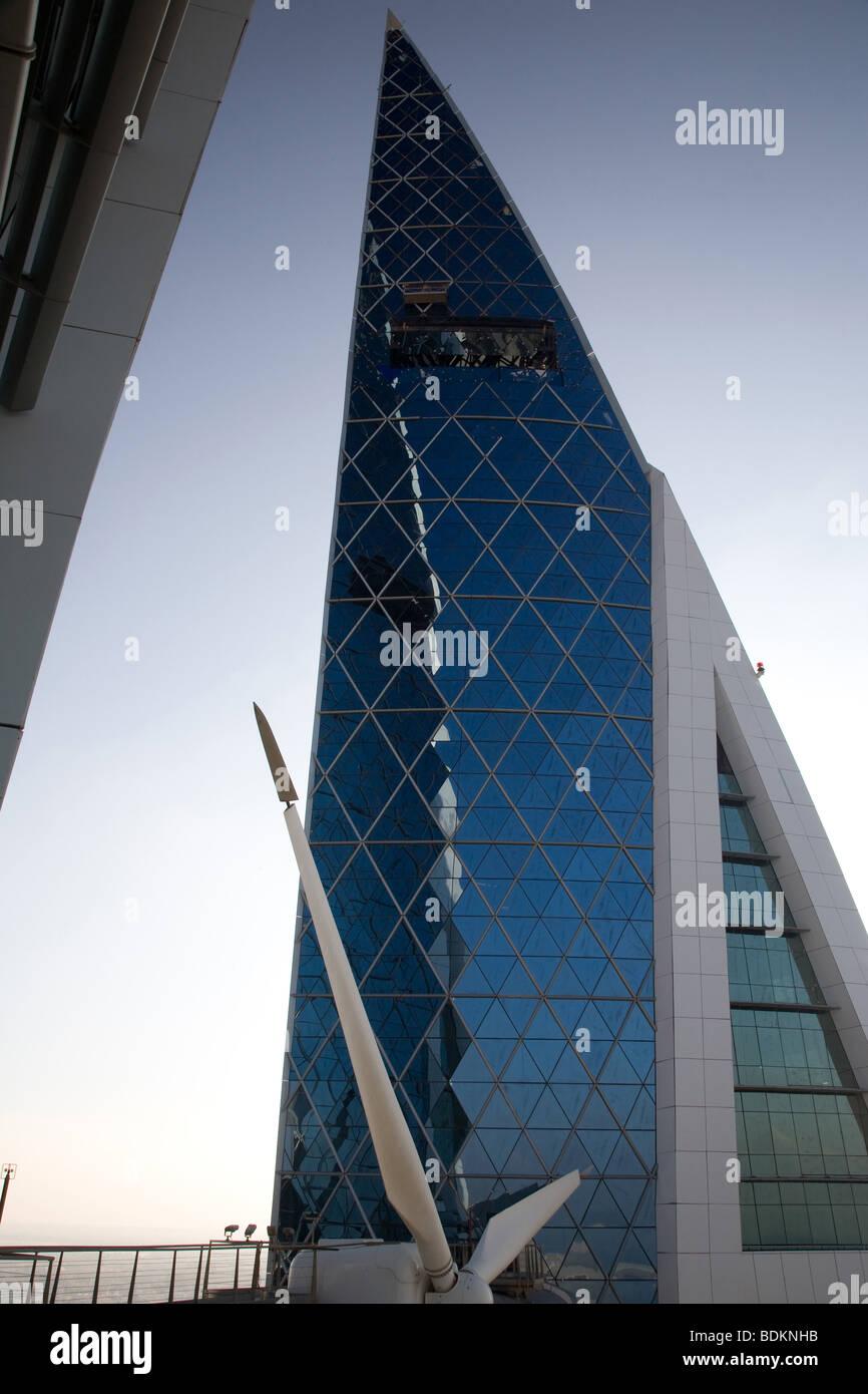 Bahrain World Trade Center di Manama Turbine eoliche Immagini Stock