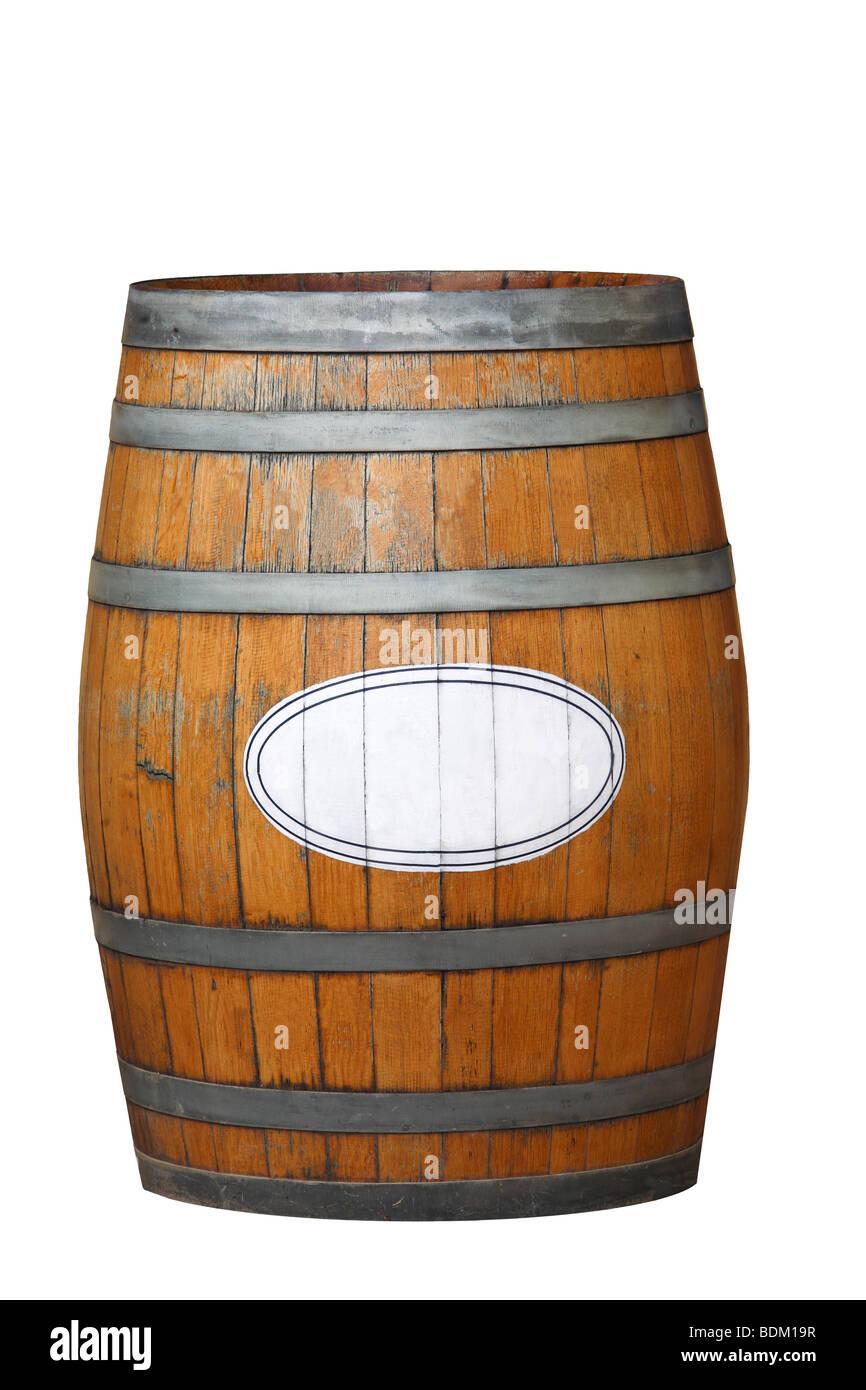 Un Vecchio Weathered Botte Di Vino Isolato Su Uno Sfondo Bianco