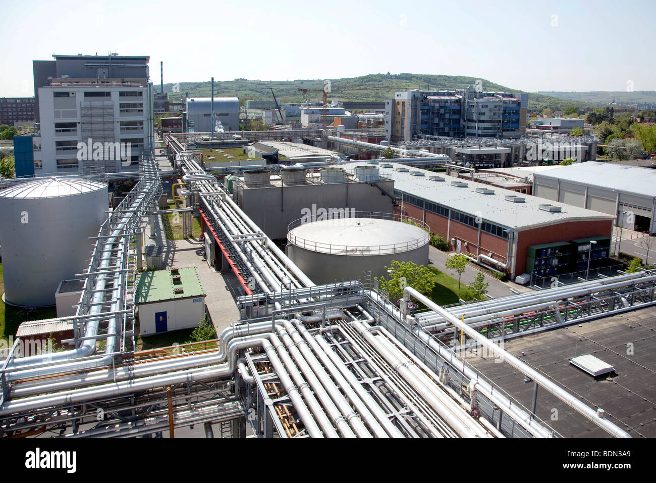 Sede della società farmaceutica Boehringer Ingelheim GmbH, Ingelheim, Renania-Palatinato, Germania, Europa Foto Stock