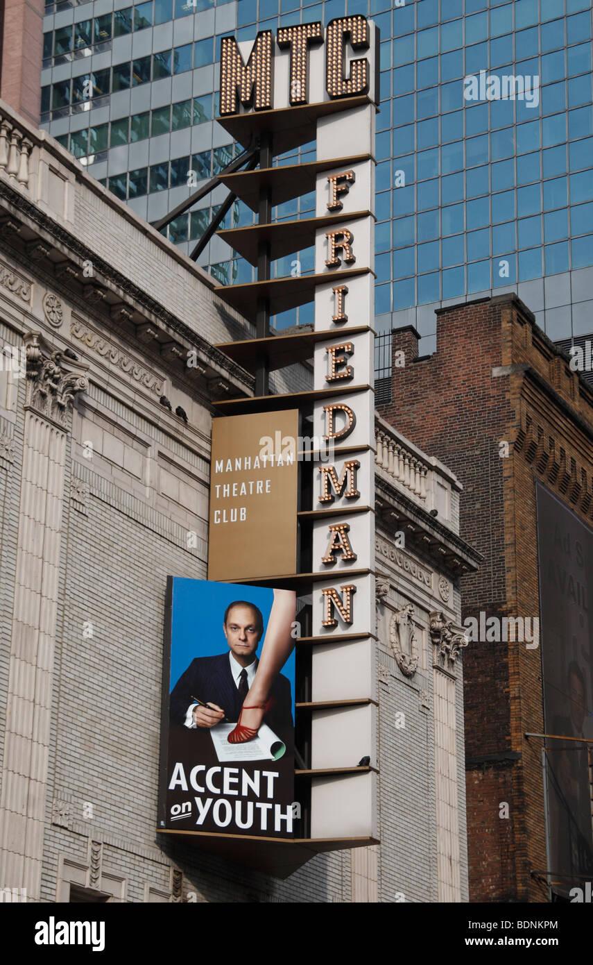 """Chiudere la scheda per 'accento di gioventù"""" al Biltmore Theatre, 47th Street, New York. Immagini Stock"""