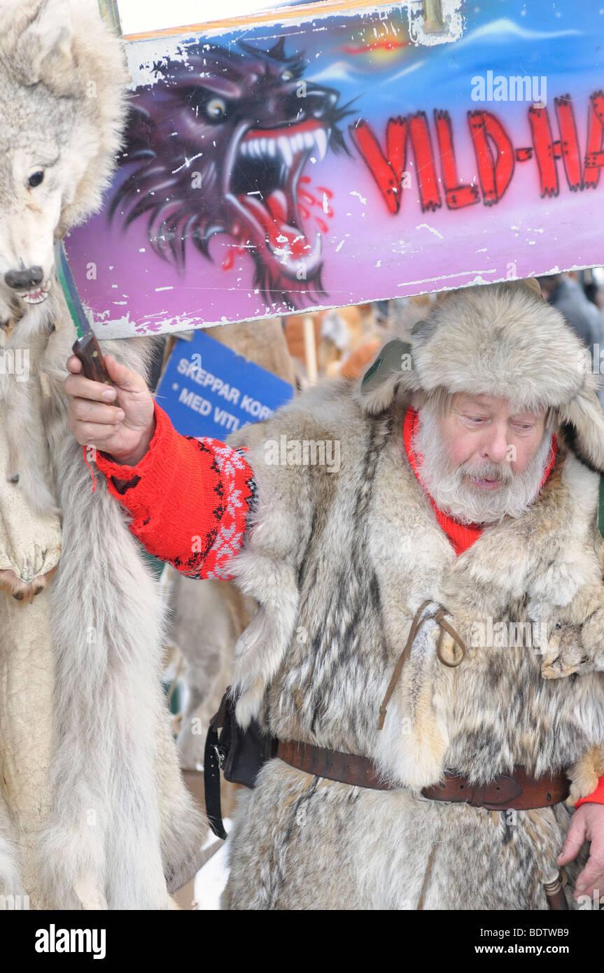 Merchant, sami mercato invernale, Lapponia, Svezia Norrbotten Immagini Stock
