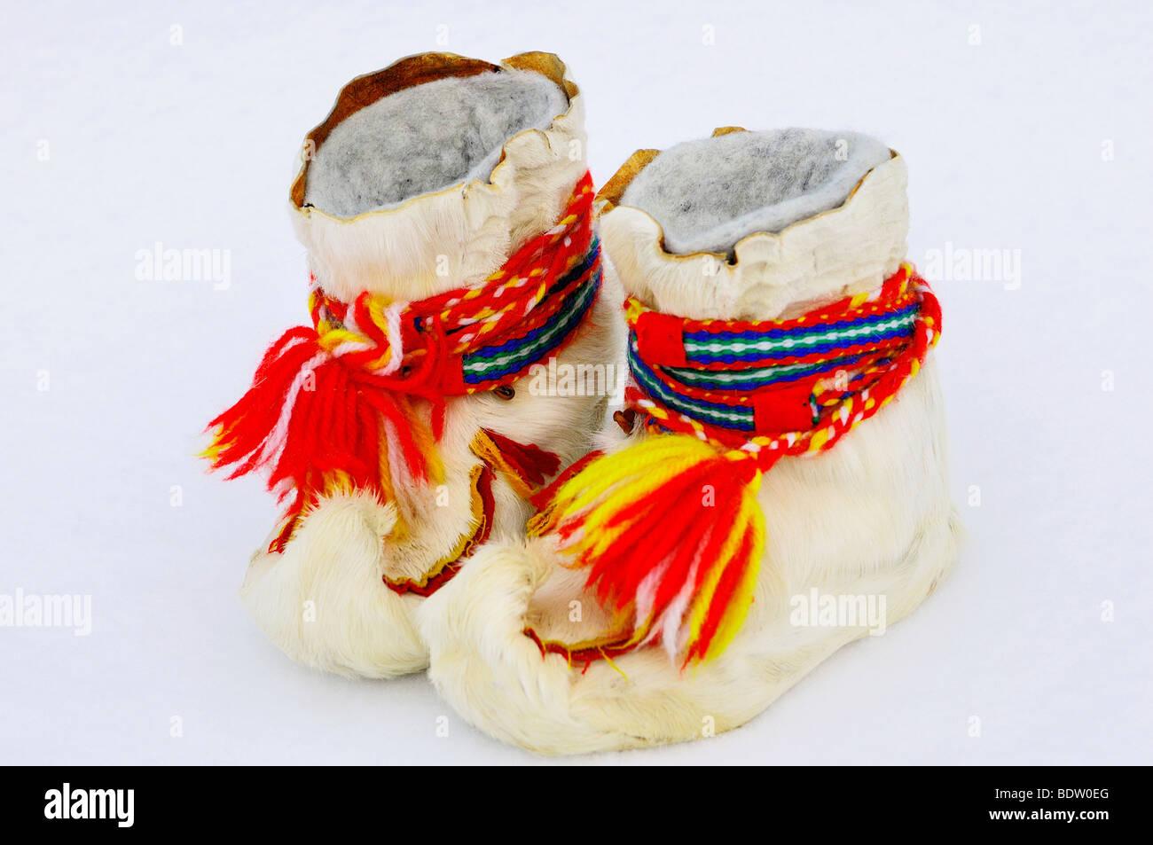 Samische winterschuhe, lappland, SCHWEDEN, sami scarpe invernali, Lapponia, Svezia Immagini Stock