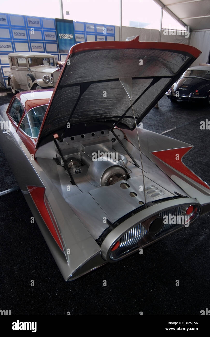 """1955 Ghia Streamline X """" Gilda 'Jet auto alimentato prima dell'impresa Gooding & Company asta al Immagini Stock"""